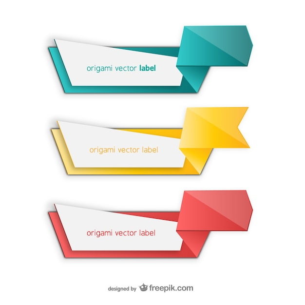 Colorful Origami Label Pack Vector | Free Download