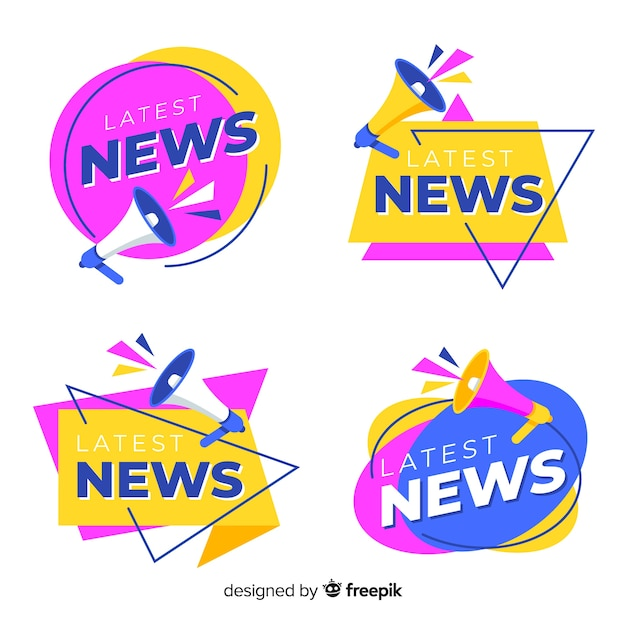 Colorful origami latest news banner pack Free Vector