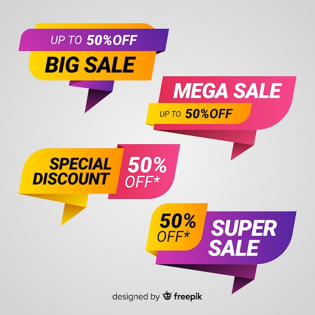 Colorful origami sale banner pack Free Vector