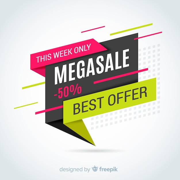 Colorful origami sale banner Free Vector