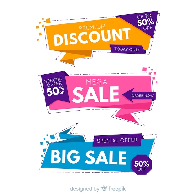 Colorful origami sales banners Free Vector