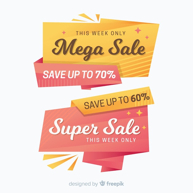 Colorful origami style sale banner set Free Vector