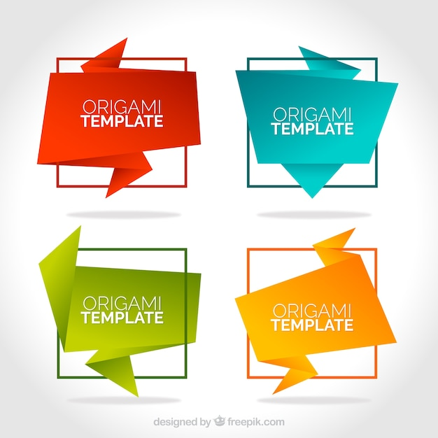 colorful origami templates vector free download