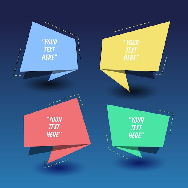 Colorful origami text templates Vector | Free Download