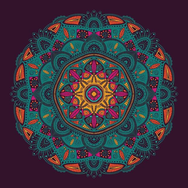 Colorful ornamental floral ethnic mandala Premium Vector