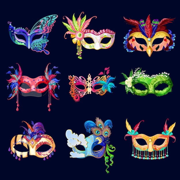 Set di maschere di carnevale ornato colorato Vettore gratuito