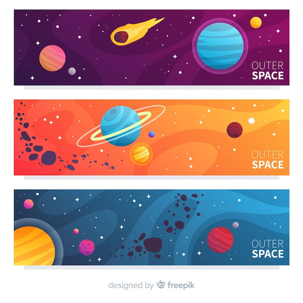 Colorful outer space banner Free Vector