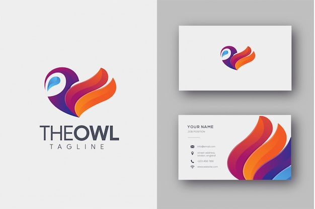 Colorful owl logo and business card template Premium Vector