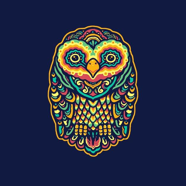 Colorful owl mandala illustration Premium Vector