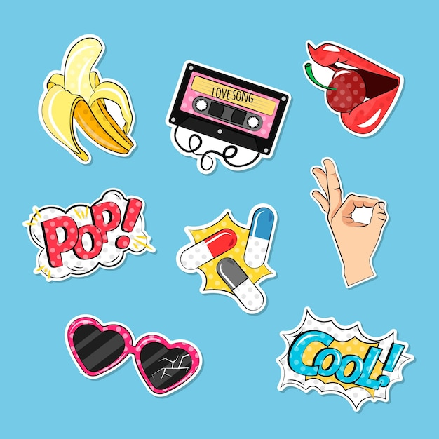 Colorful pack of comic stickers Free Vector