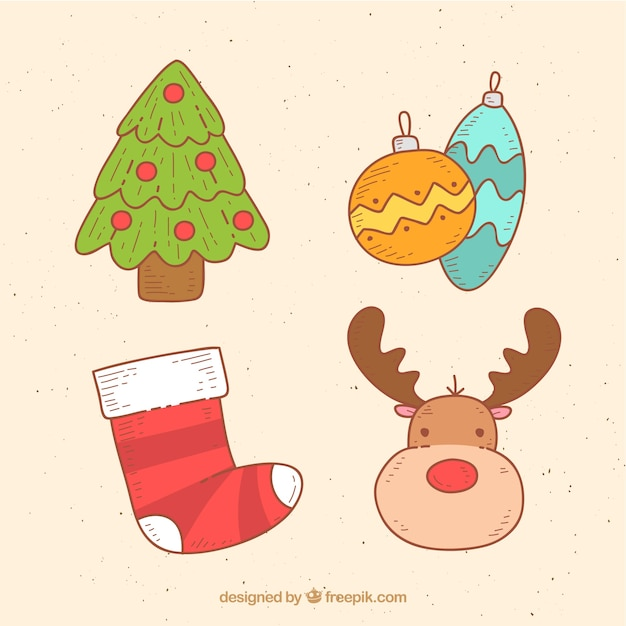 Colorful pack of cute christmas elements Free Vector
