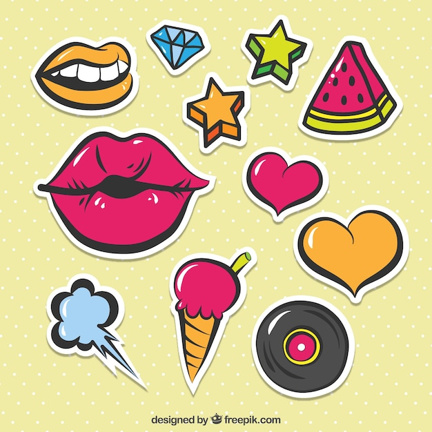 Colorful pack of cute stickers Free Vector