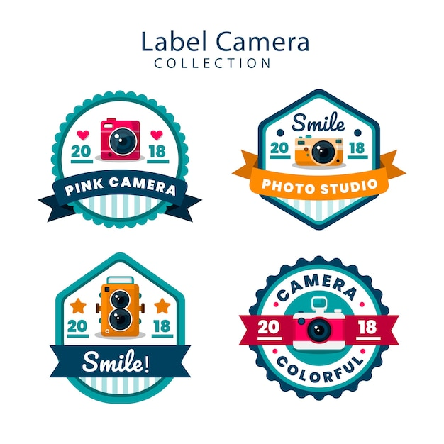 Colorful pack of flat camera labels Free Vector