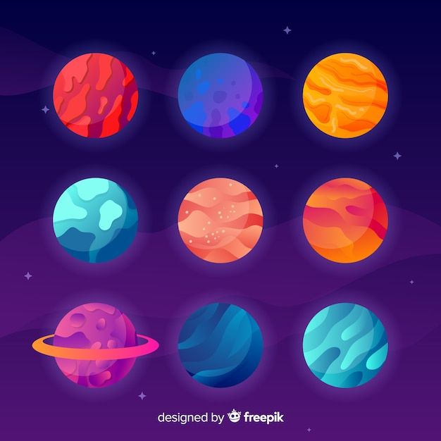 Colorful pack of flat planets Free Vector