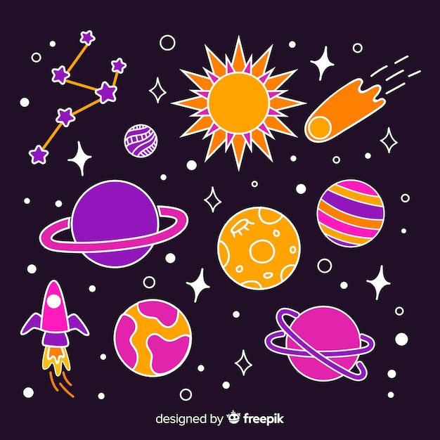 Colorful pack of hand drawn space stickers Free Vector