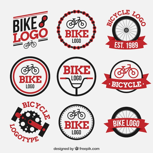 Colorful pack of modern bike logos Free Vector