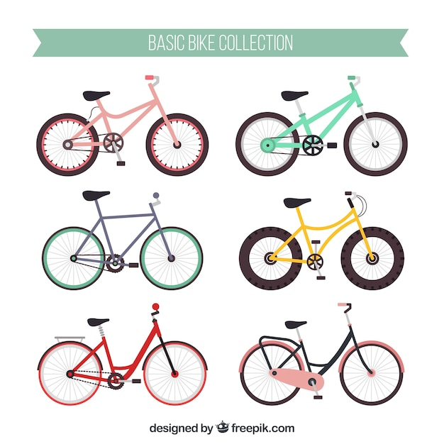 Colorful pack of modern bikes Free Vector