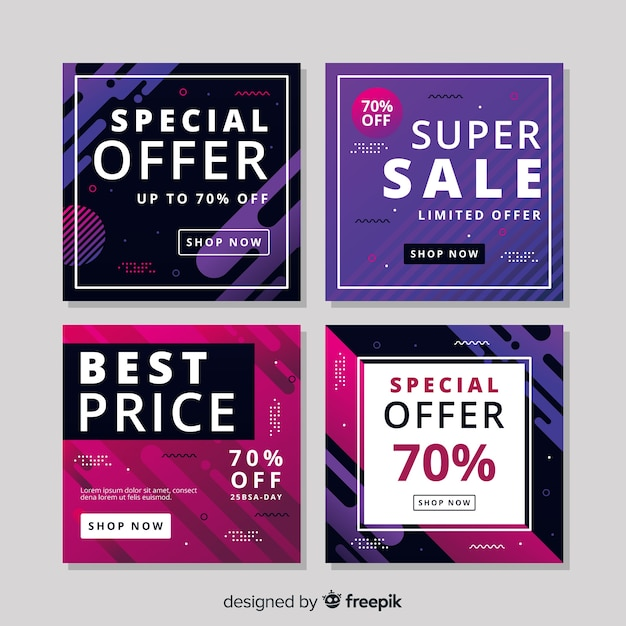 Colorful pack of modern sale banners for social media Free Vector