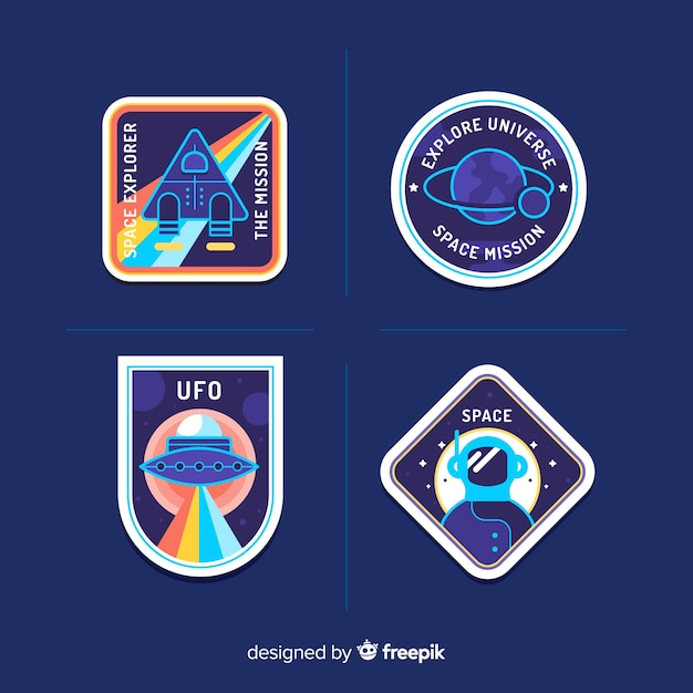 Colorful pack of modern space stickers Free Vector