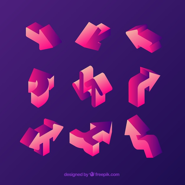 Colorful pack of 3d arrows