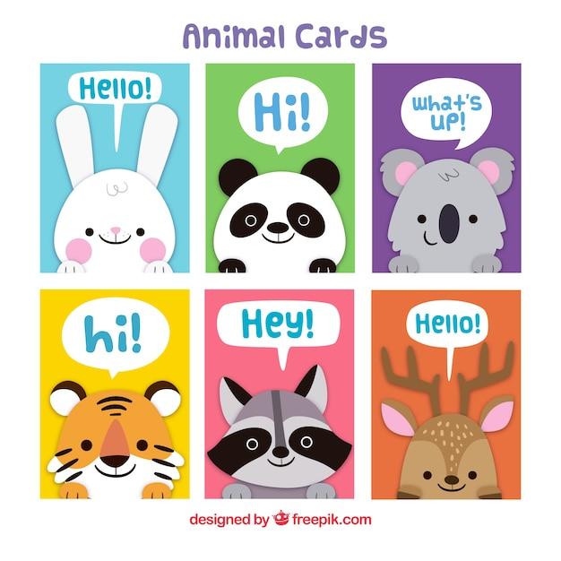 かわいい動物とカラフルなカードのパック 無料ベクター