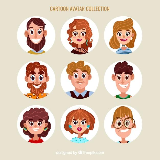 Colorful pack of cartoon avatars