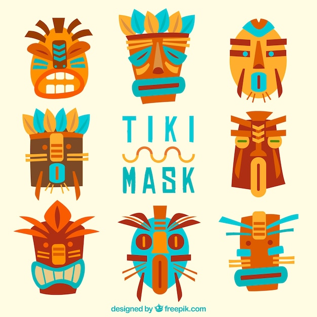 Colorful pack of cool polynesian masks