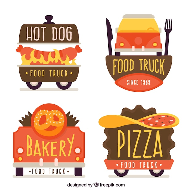 Colorful pack of flat food truck logos