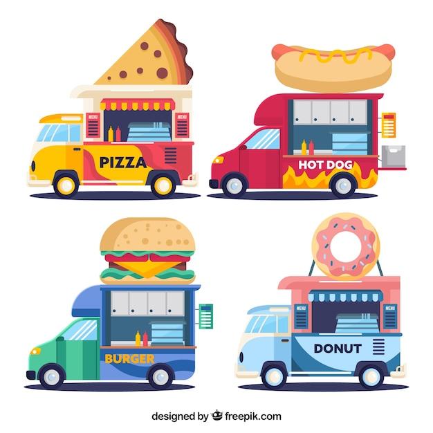 Colorful pack of flat food trucks