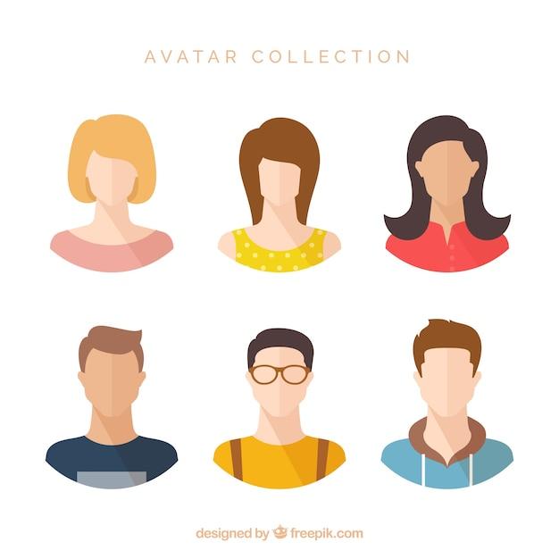 Colorful pack of flat modern avatars