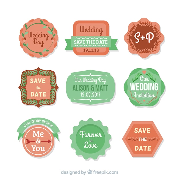 Colorful pack of flat wedding badges