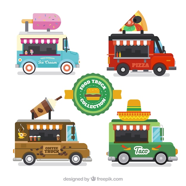 Colorful pack of food trucks with flat design