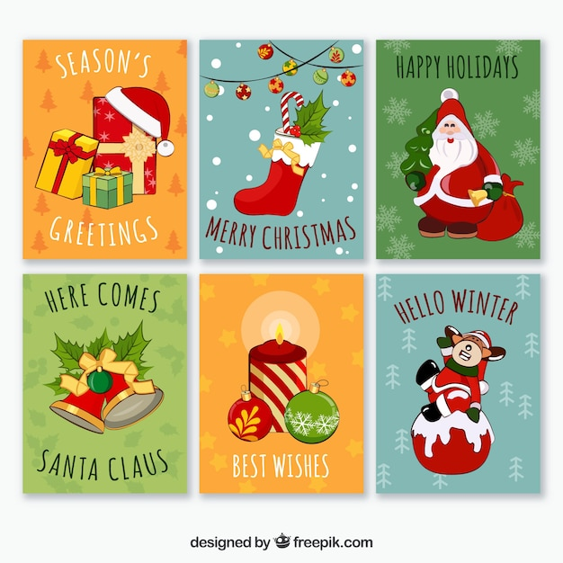 colorful pack of fun christmas cards free vector - Humorous Christmas Cards