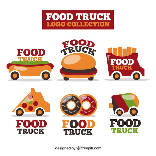 Colorful pack of fun food truck logos