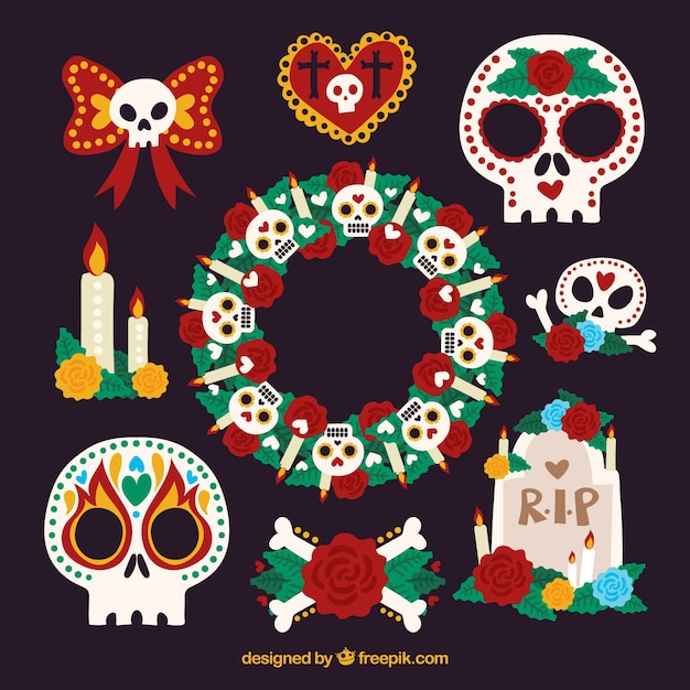 Colorful pack of funny mexican elements