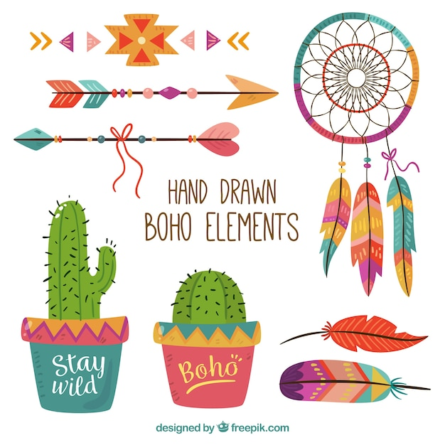 Colorful pack of hand-drawn boho elements Free Vector
