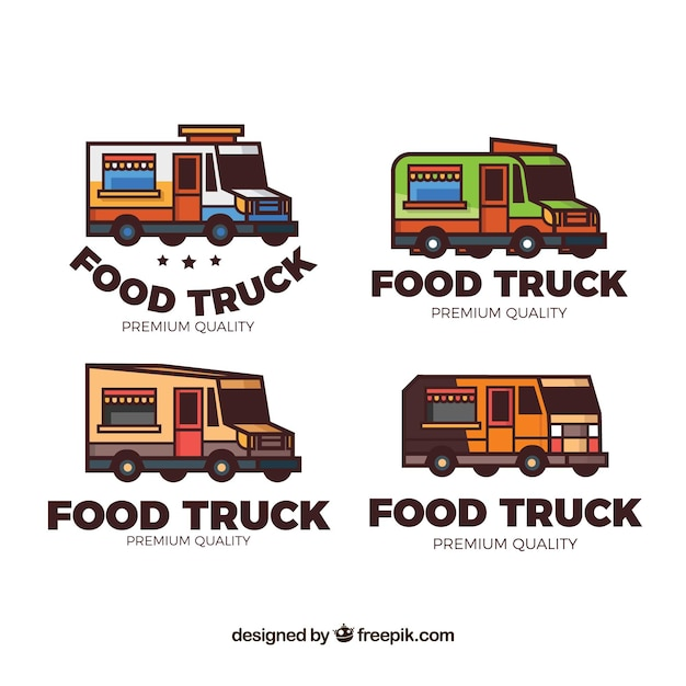 Colorful pack of hand drawn food truck logos