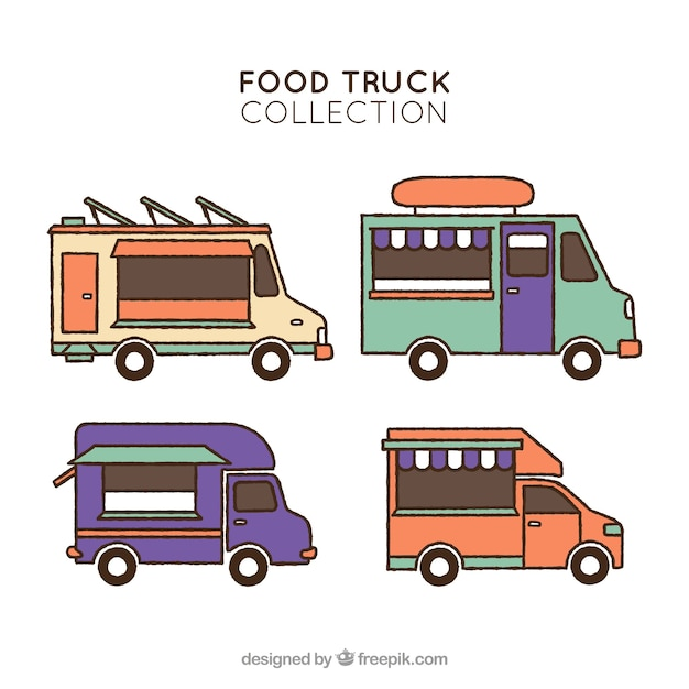 Colorful pack of hand drawn food trucks