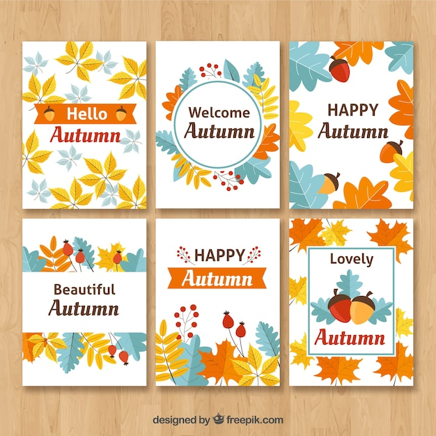 Colorful pack of happy autumn cards