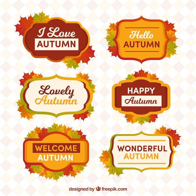 Colorful pack of happy autumnlabadges