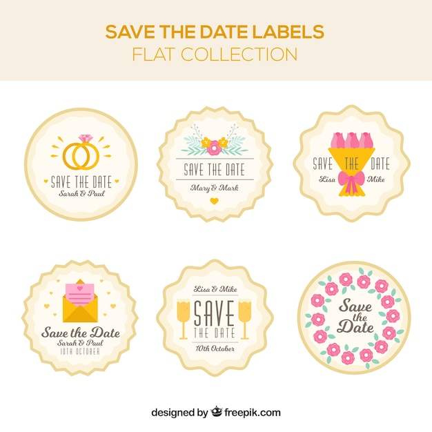 Colorful pack of lovely wedding labels