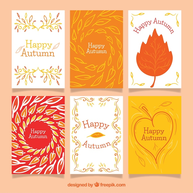 Colorful pack of modern autumn cards