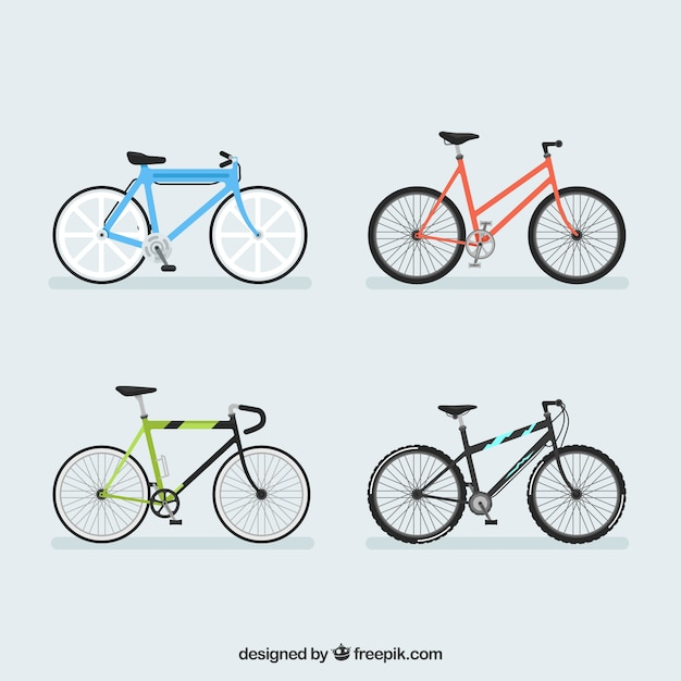 Colorful pack of modern bicycles