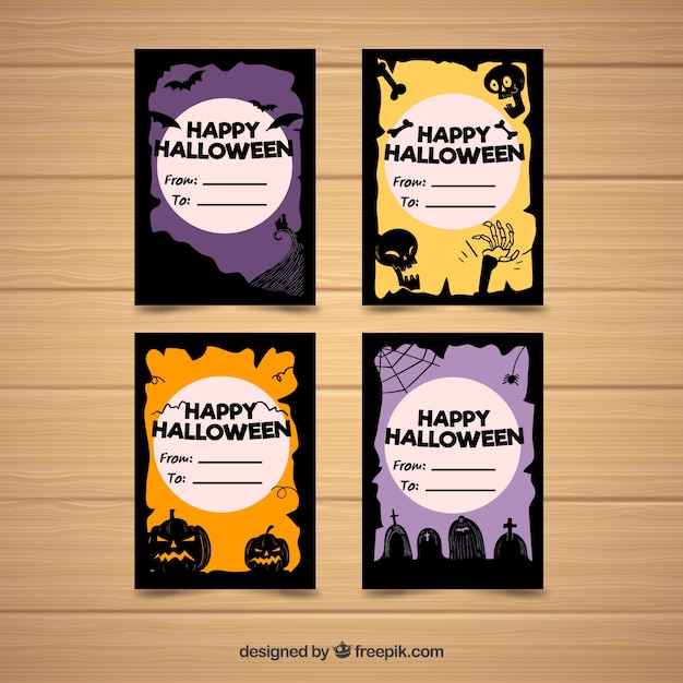 Colorful pack of modern halloween cards