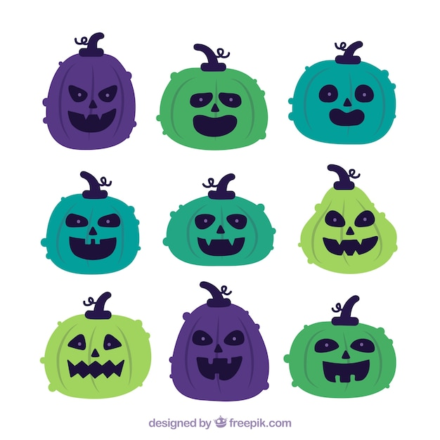 Colorful pack of modern halloween pumpkins