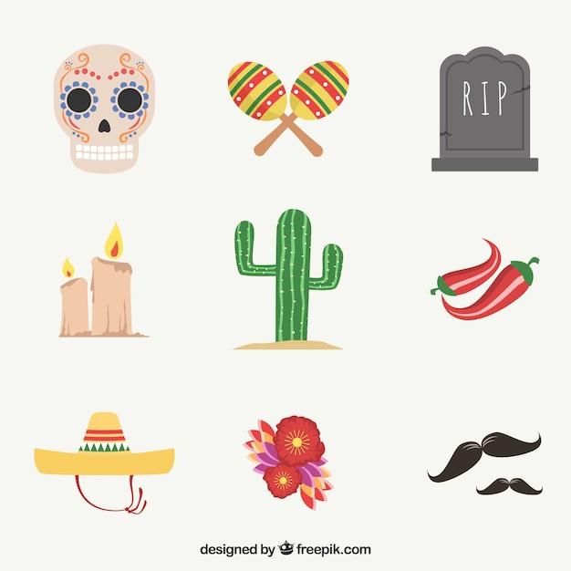Красочная коллекция современных мексиканских элементов Premium векторы