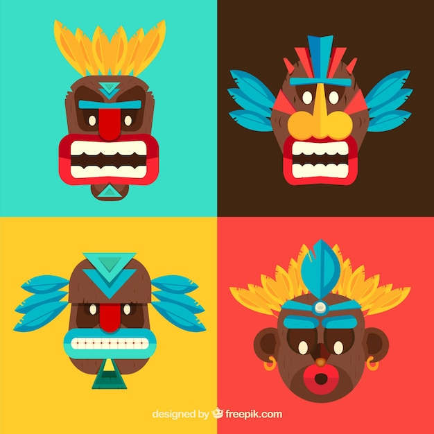 Colorful pack of modern tiki masks