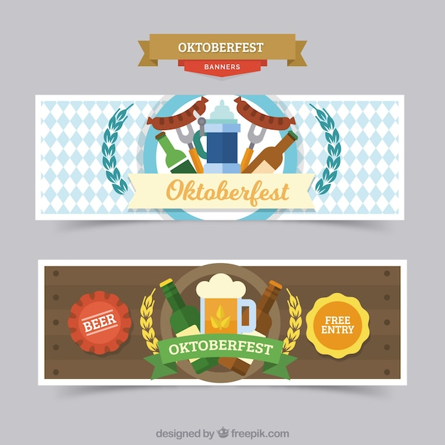 Colorful pack of oktoberfest banners with flat design