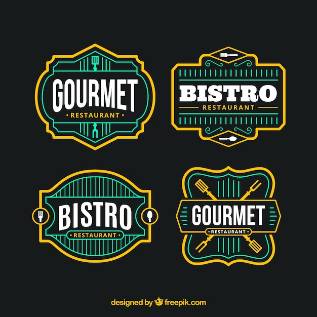 Colorful pack of restaurant logos with retro style