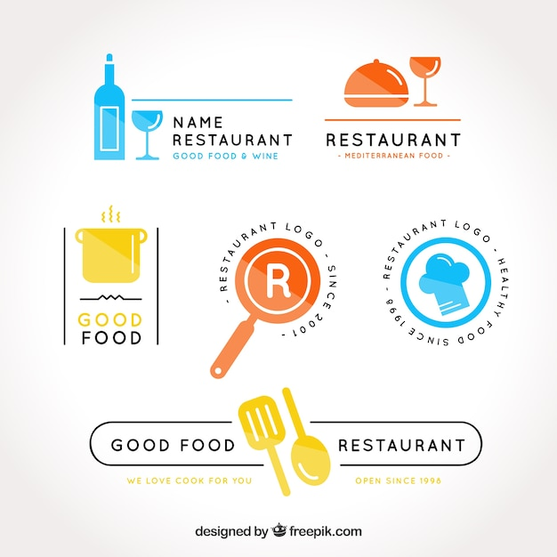 Colorful pack of restaurant logos